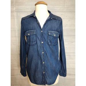 The Kooples Long Sleeve Jean's blouse Size medium